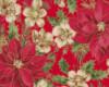 Vánoční růže, zlatotisk, š. 140cm, růžovo-červená