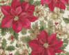 Vánoční růže, zlatotisk, š. 140cm, růžovo-smetanová