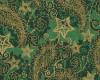 Vánoční kašmír, zlatotisk zelený, š. 140cm